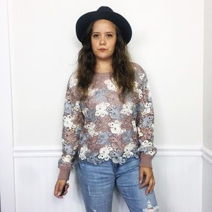 Chelsea & Theodore Floral Sweater Crochet Overlay